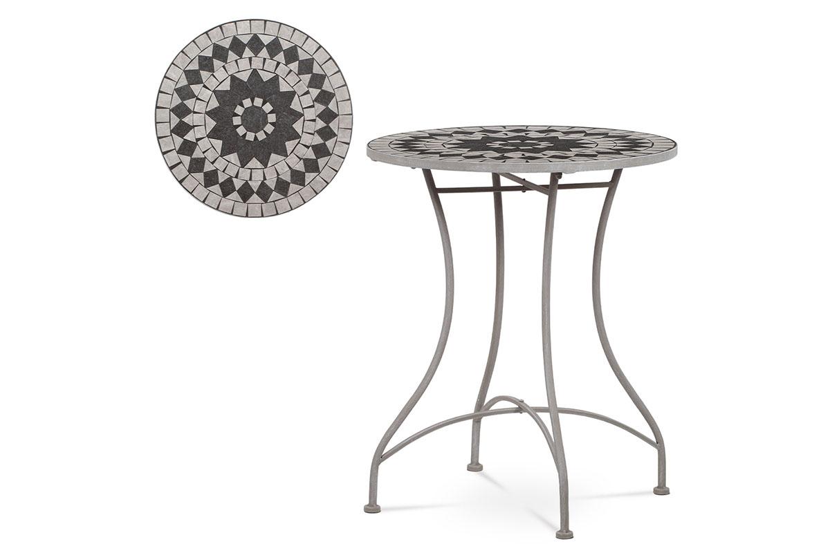 Zahradní stůl, deska z keramické mozaiky, kov, šedý lak (designově k židli JF2229)