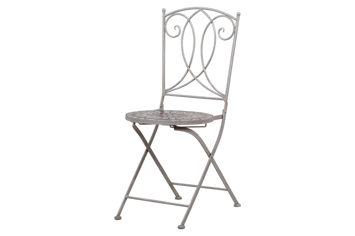 Zahradní židle, keramická mozaika, kov, šedý lak (designově ke stolu JF2228)