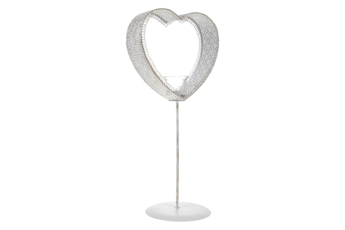Svícen kovový ve tvaru srdce. Na čajovou svíčku.