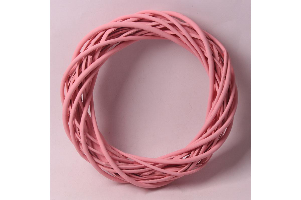 Proutěný věnec, barva růžová