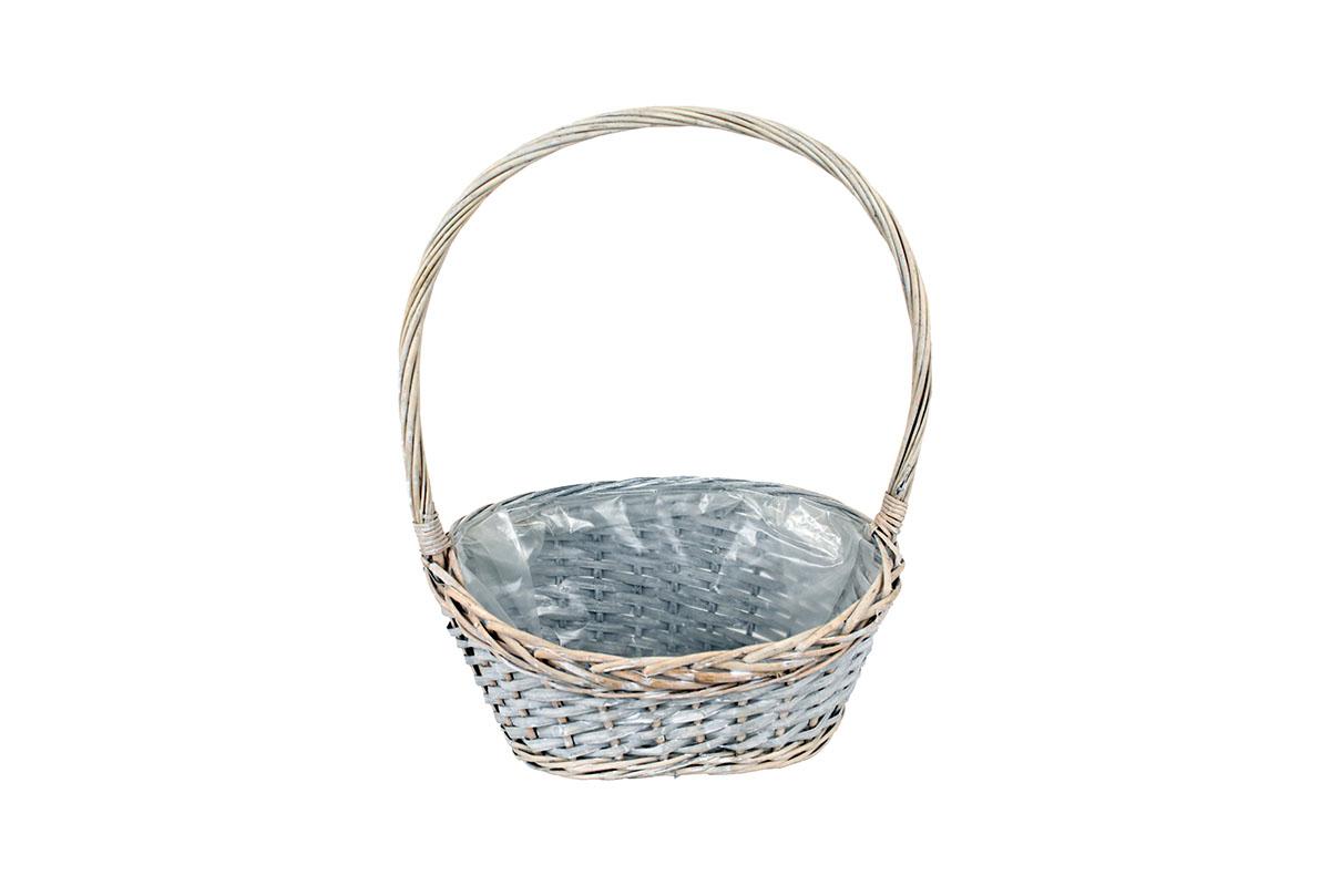 Prútený košík s igelitovou vložkou, šedá farba