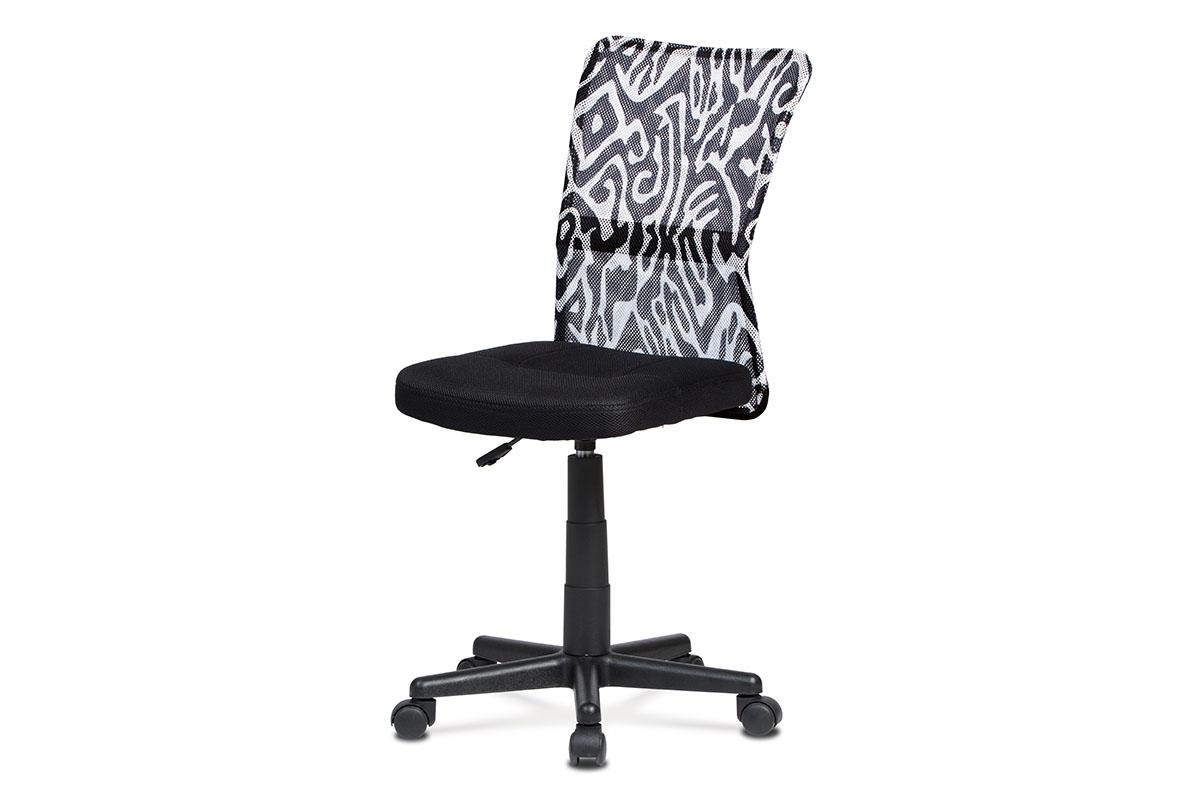 kancelárska stolička, čierna mesh, plastový kríž, sieťovina motív