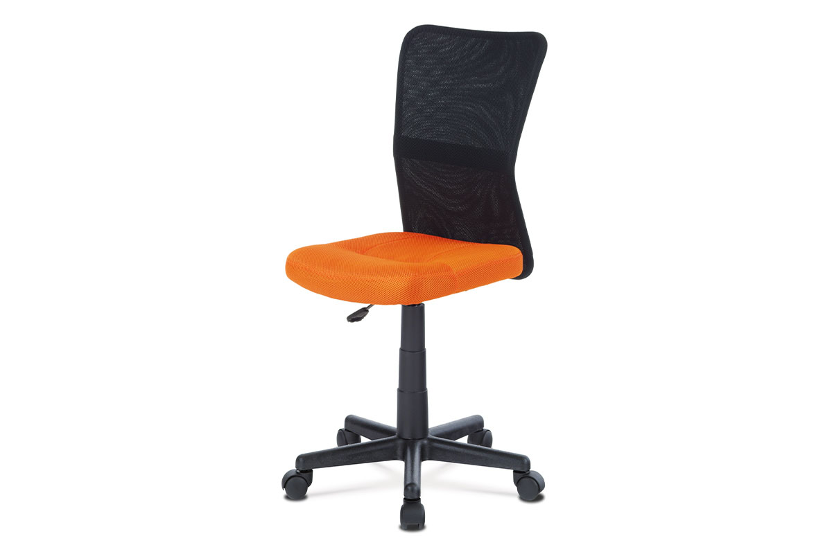 kancelárska stolička, oranžová mesh, plastový kríž, sieťovina čierna-KA-2325 ORA