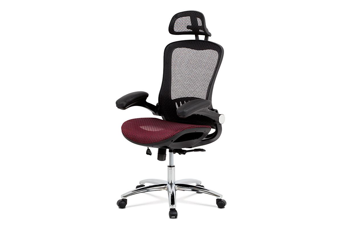 kancelárska stolička, mesh červená-KA-A185 RED