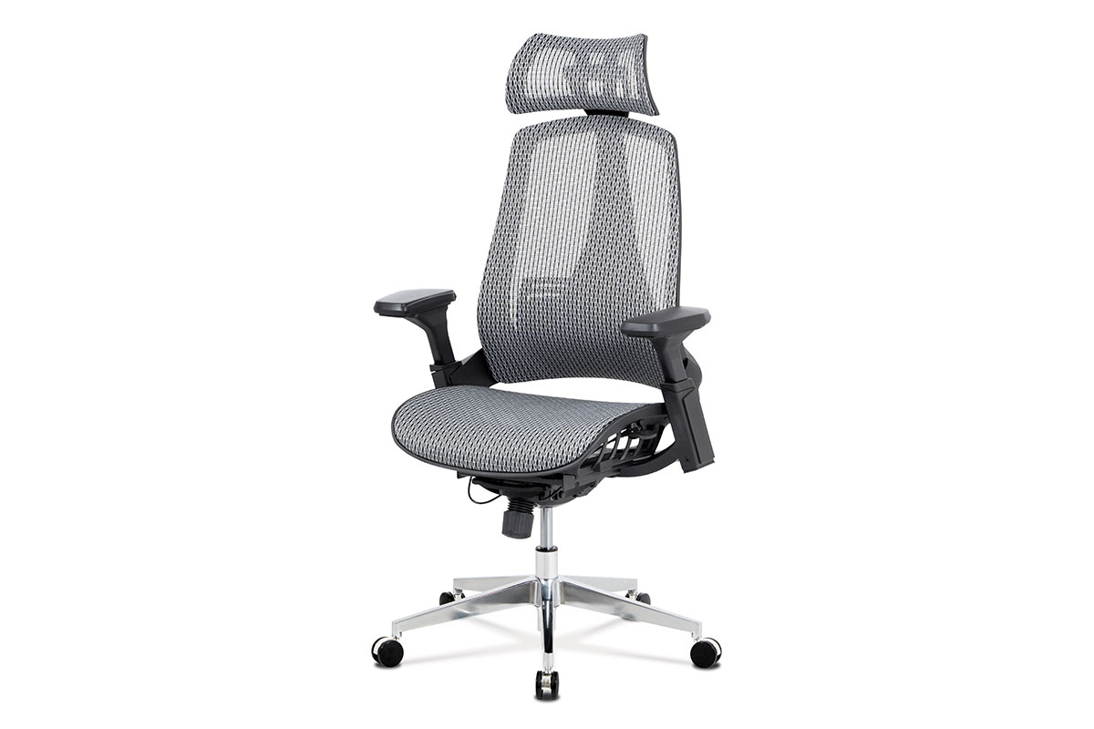 Office chair, Nylon Mesh GREY, 4D PP Armrests with pad, Multi-function mech, 350 mm base