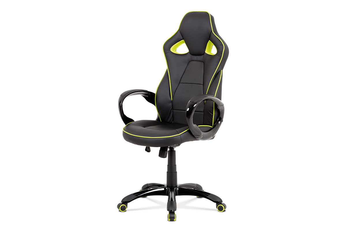 kancelárska stolička, čierna-zelená akokoža, hojdací mech, plastový kríž-KA-E812 GRN