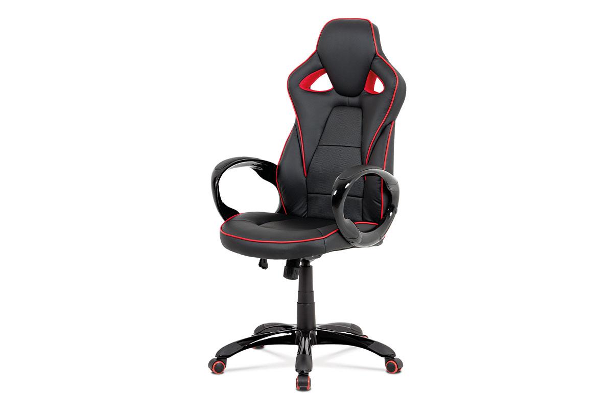 kancelárska stolička, čierna-červená akokoža, hojdací mech, plastový kríž-KA-E812 RED