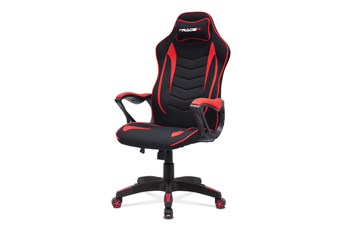 Kancelárska stolička, čierno-červená látka, plastový kríž