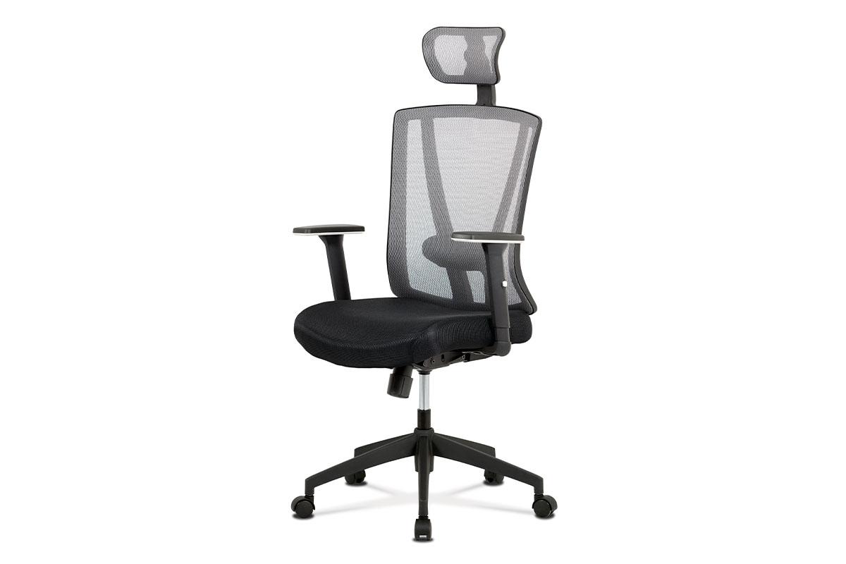 kancelárska stolička, čierna/šedá sieťovina, plast kríž, synchronní mechanismus