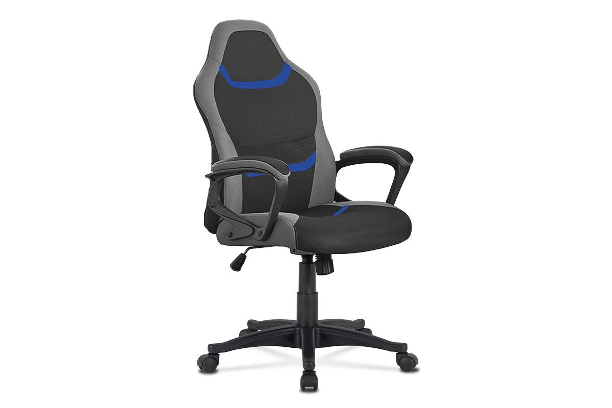 Juniorská kancelárska stolička,čierno-sivo-modrá látka, hojdací mechanizmus, plastový kríž