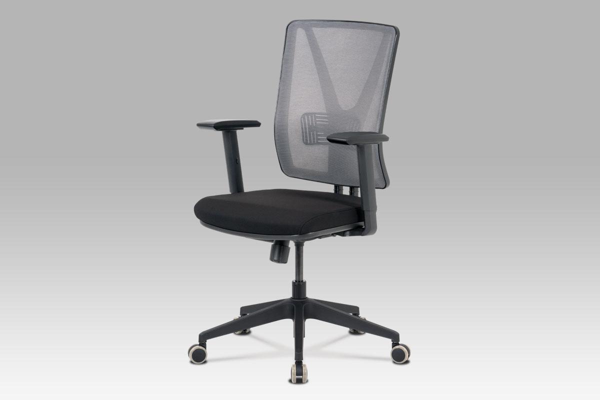 Kancelářská židle, šedá síťovina+černá látka, houpací mech, plast kříž-KA-M01 GREY