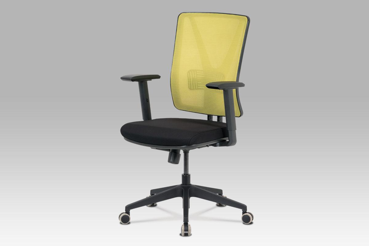 Kancelářská židle, zelená síťovina+černá látka, houpací mech, plast kříž-KA-M01 GRN