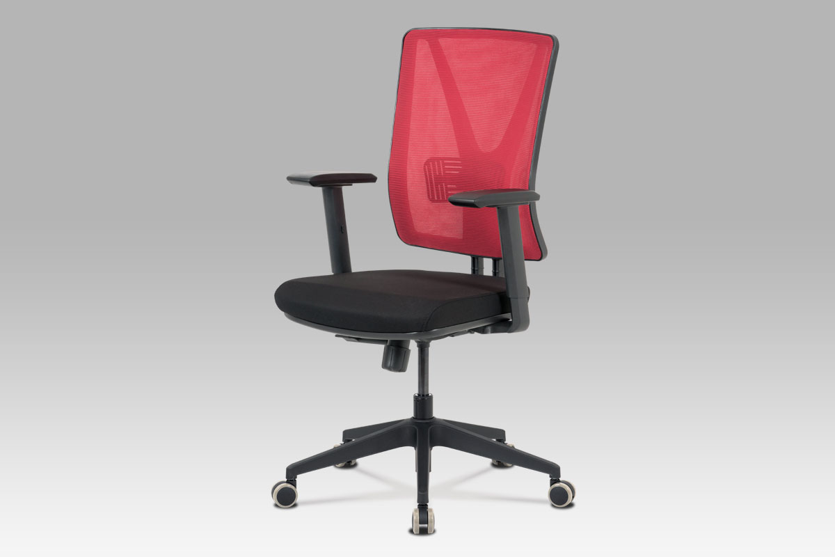 Kancelářská židle, červená síťovina+černá látka, houpací mech, plast kříž-KA-M01 RED