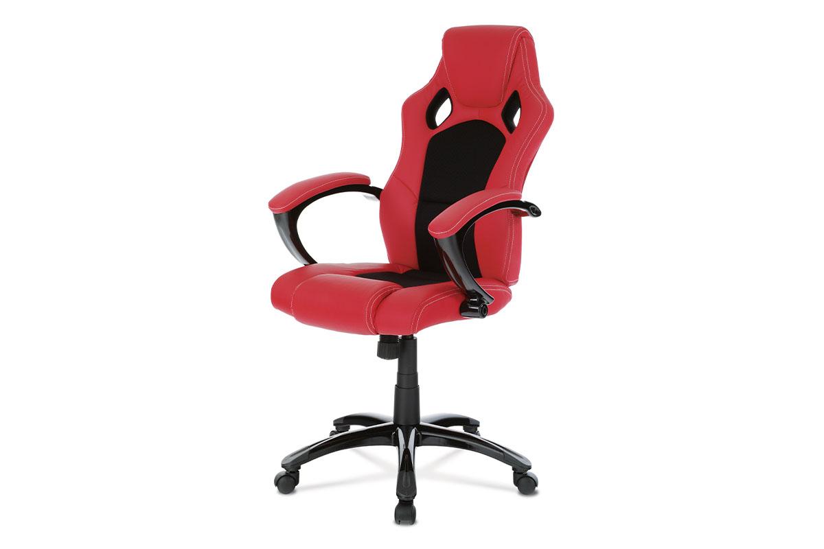 kancelárske kreslo, koženka červená, látka čierna-KA-N157 RED