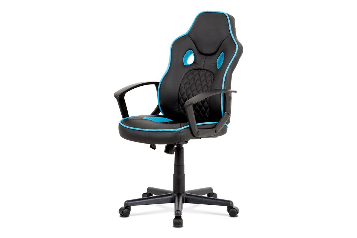 kancelárska stolička, čierna ekokoža+modrá látka, hojdací mech, plast kríž