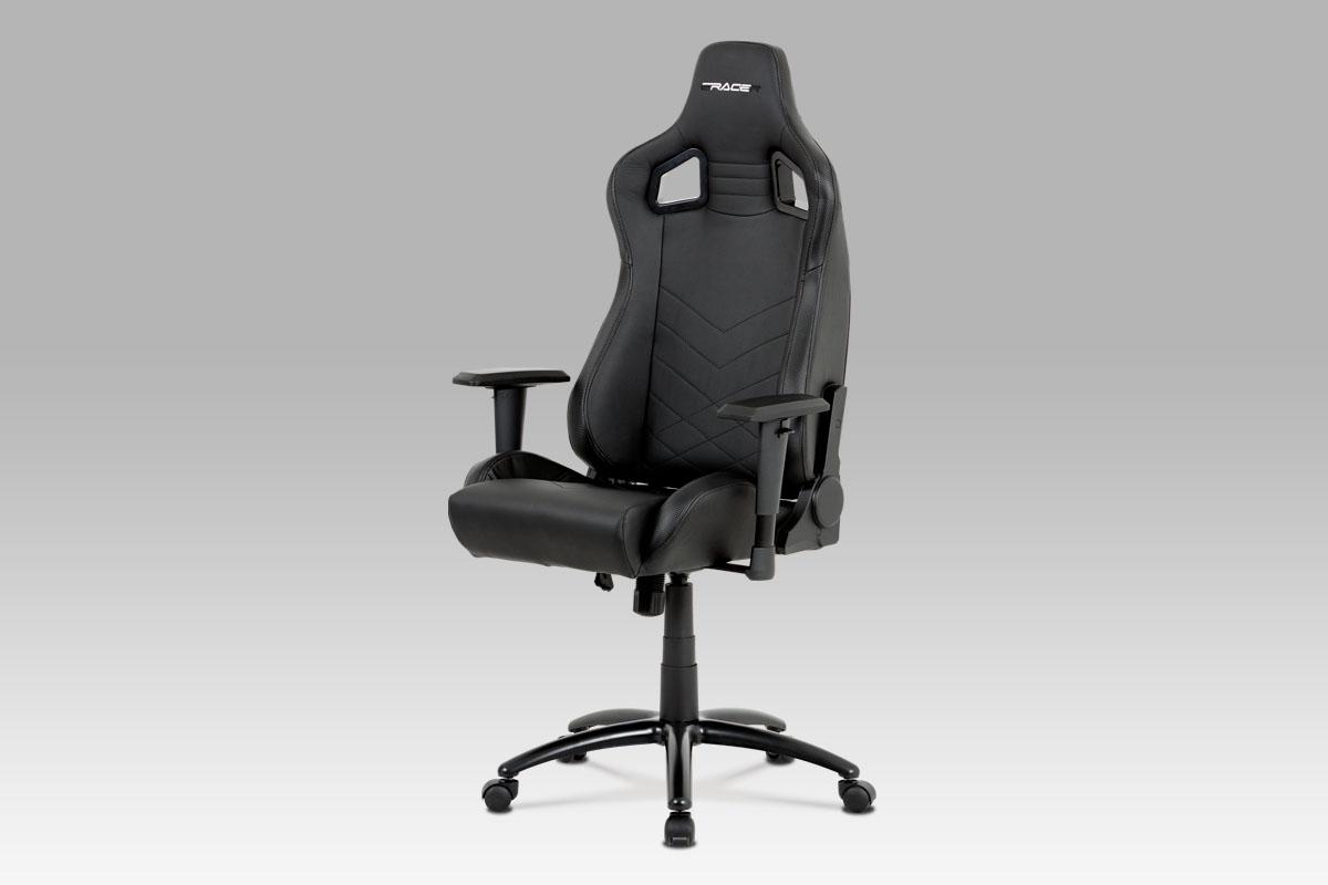kancelárska stolička, čierna ekokoža, hojdací mech, kovový kríž