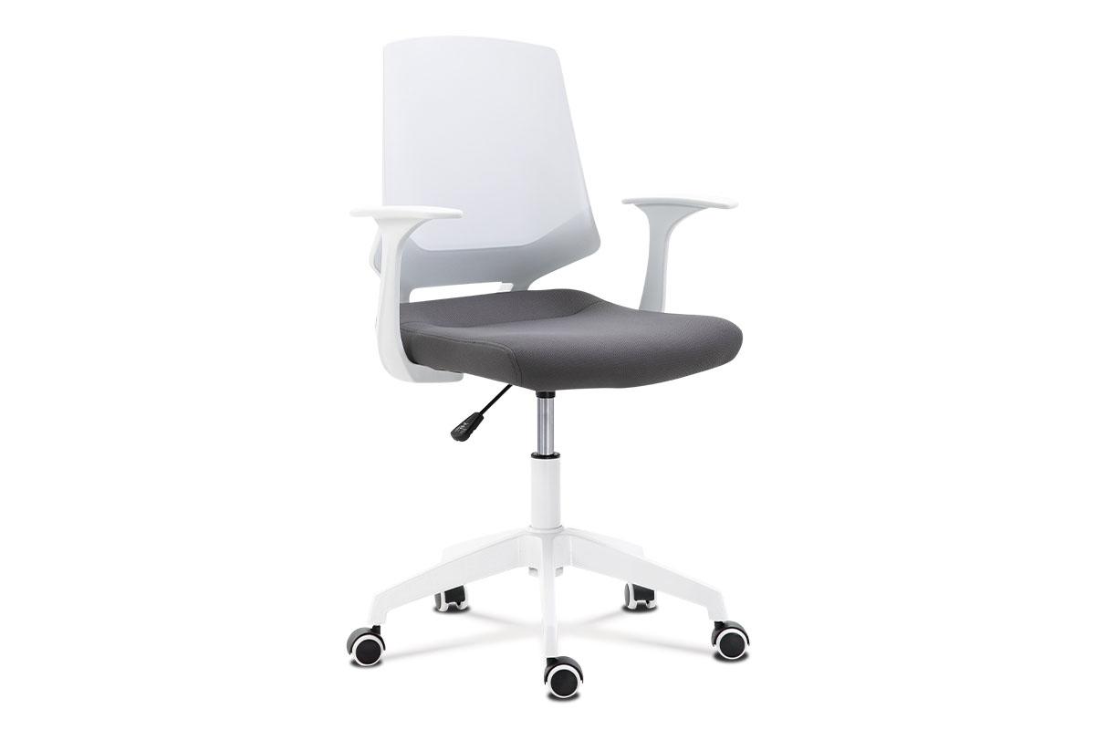 Kancelárska stolička, sedadlo sivá látka, biely PP plast, výškovo nastaviteľná
