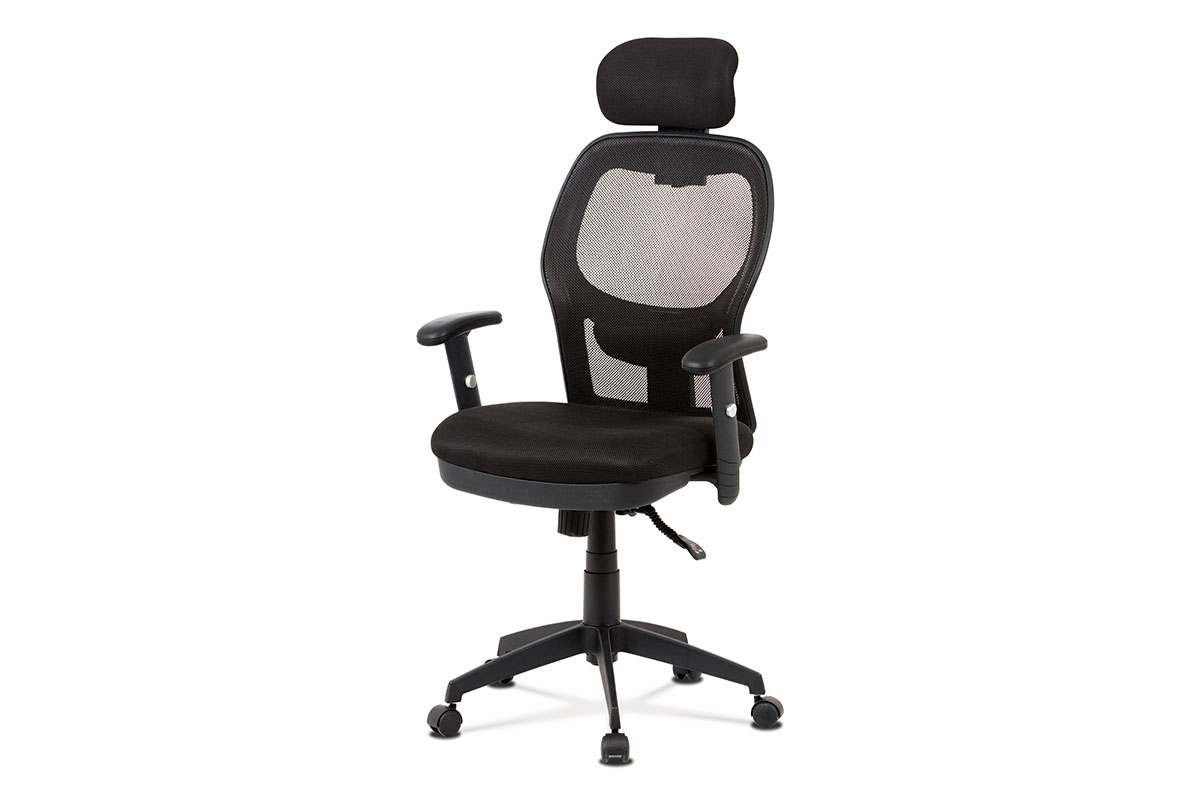 kancelárska stolička, čierna MESH, synchronní mech, kríž plastový čierny-KA-V301 BK