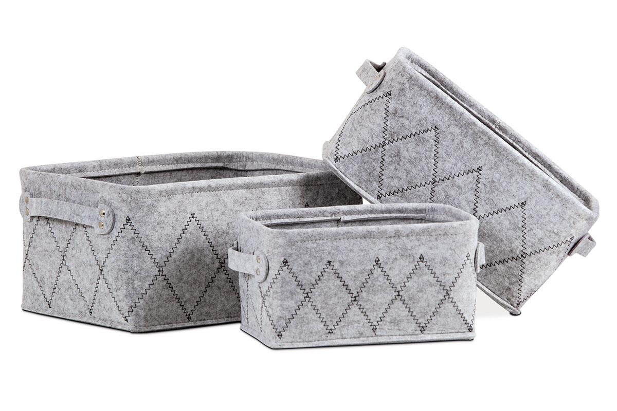Košík regálový z plsti, sada 3 kusy, barva světle šedá