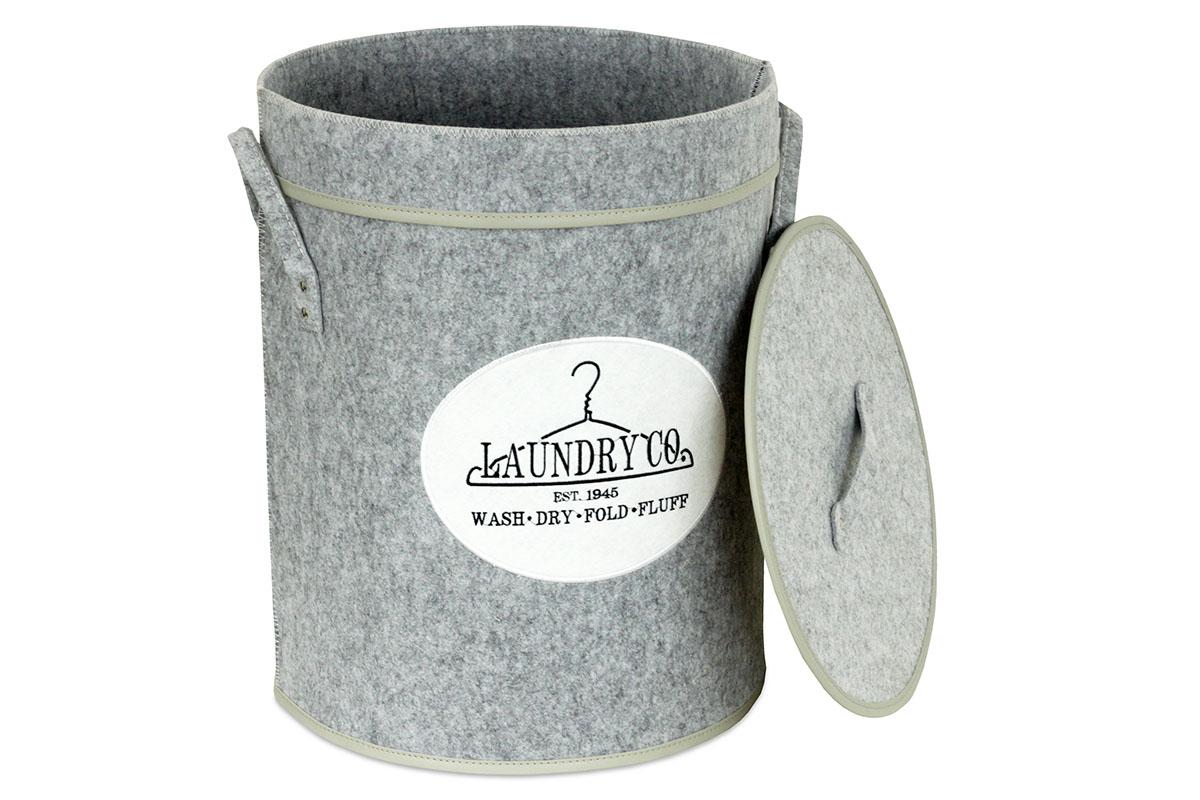 Kôš na prádlo s vekom z plsti, farba svetlo šedá, v papierovej krabičke