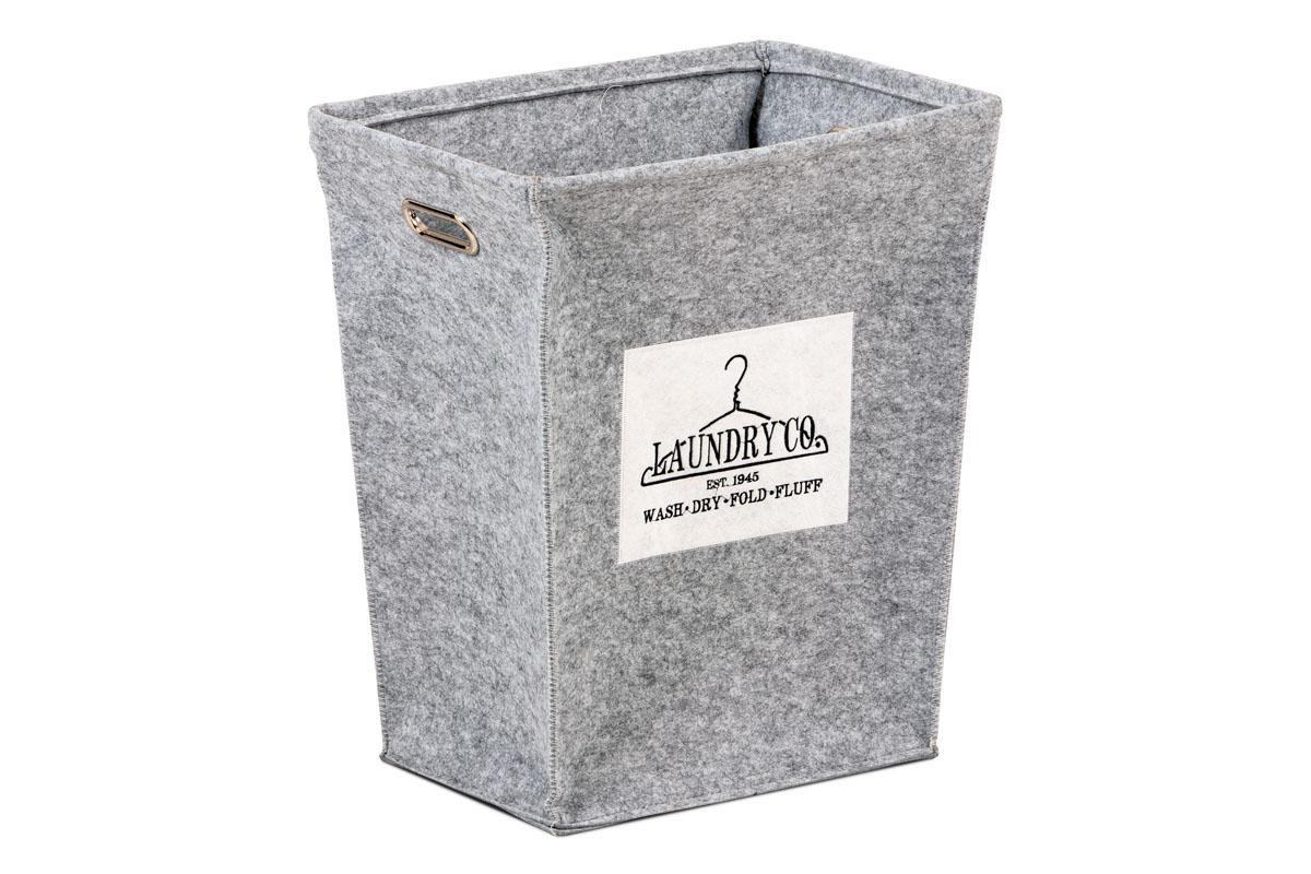 Kôš na prádlo z plsti, farba svetlo šedá, balené v papierovej krabičke