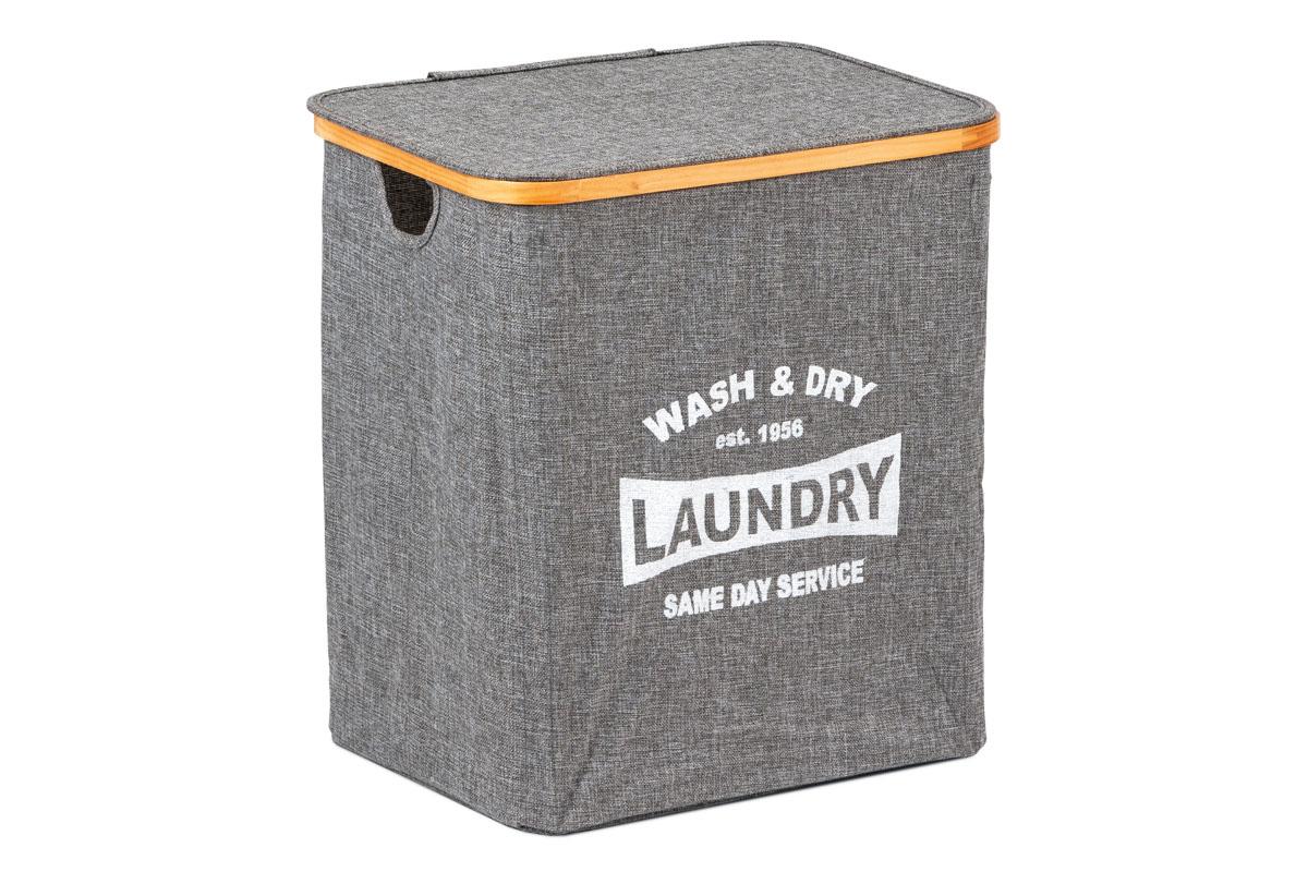 Koš prádelní s víkem, z textilu se dřevěm,  barva šedá