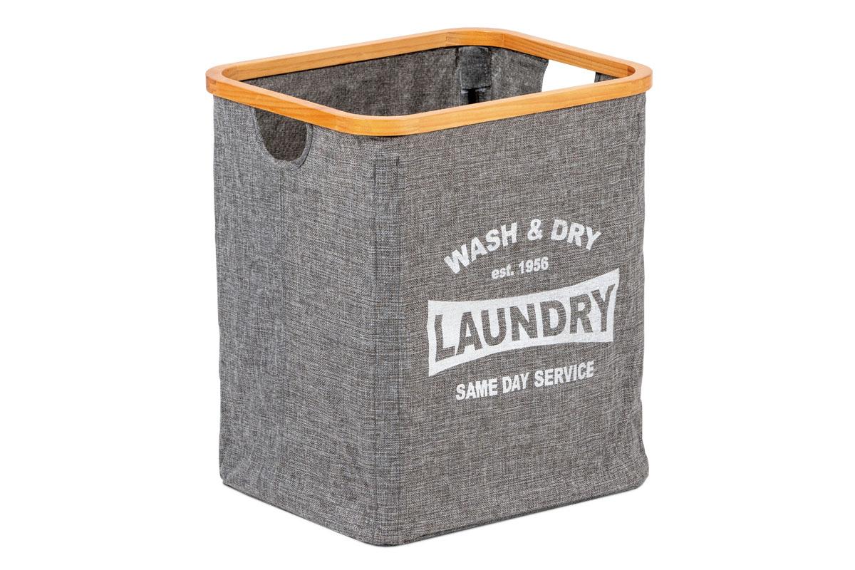 Kôš na prádlo z textilu s drevom, farba šedá