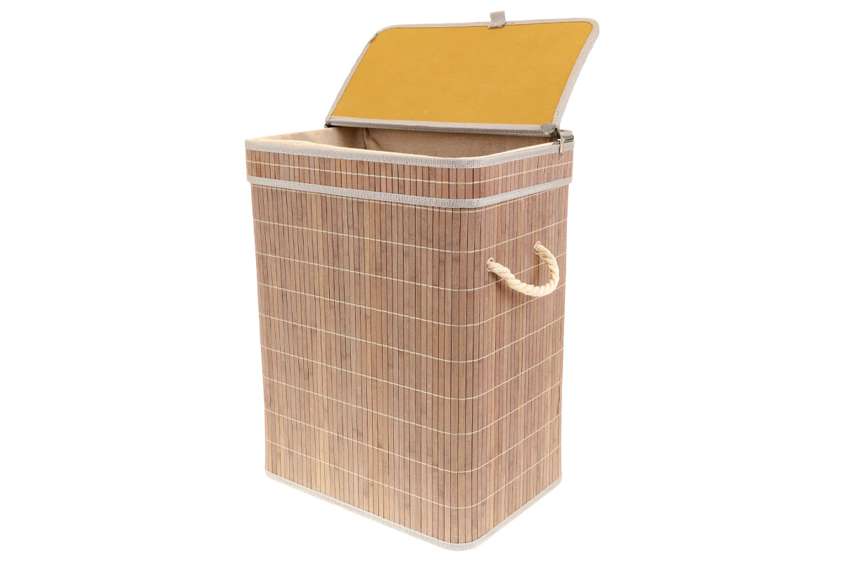 Kôš na prádlo z bambusu, obdĺžnik, farba šedobiela