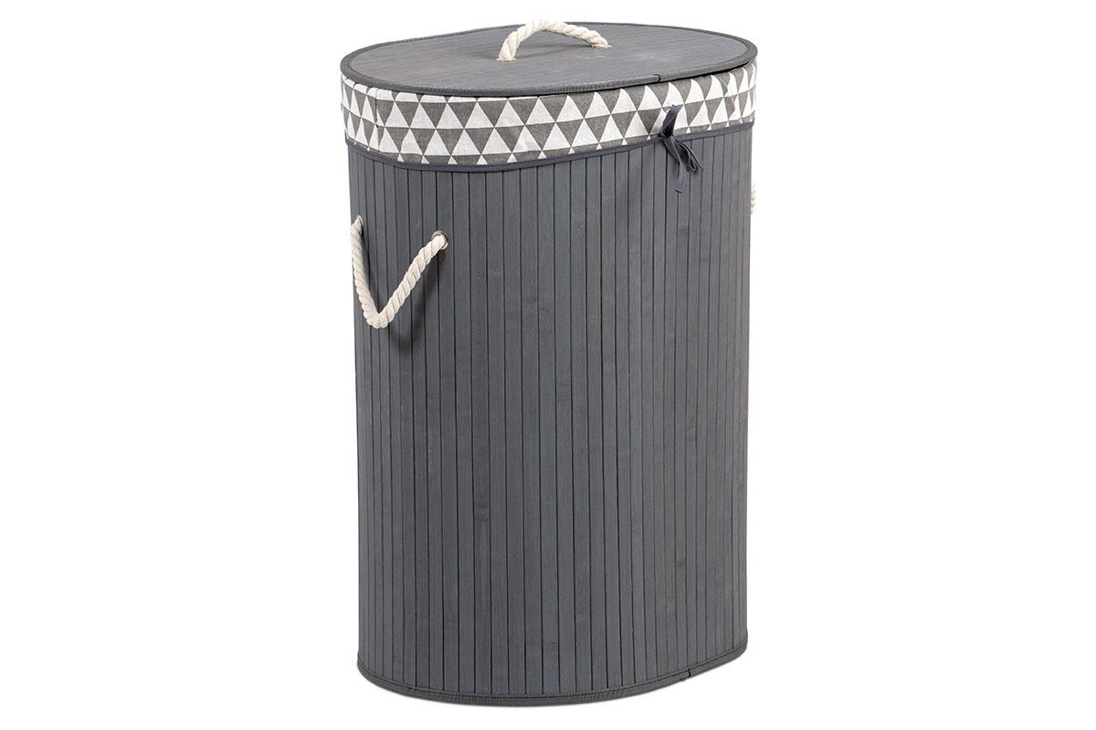 Kôš na prádlo z bambusu, ovál, farba šedá