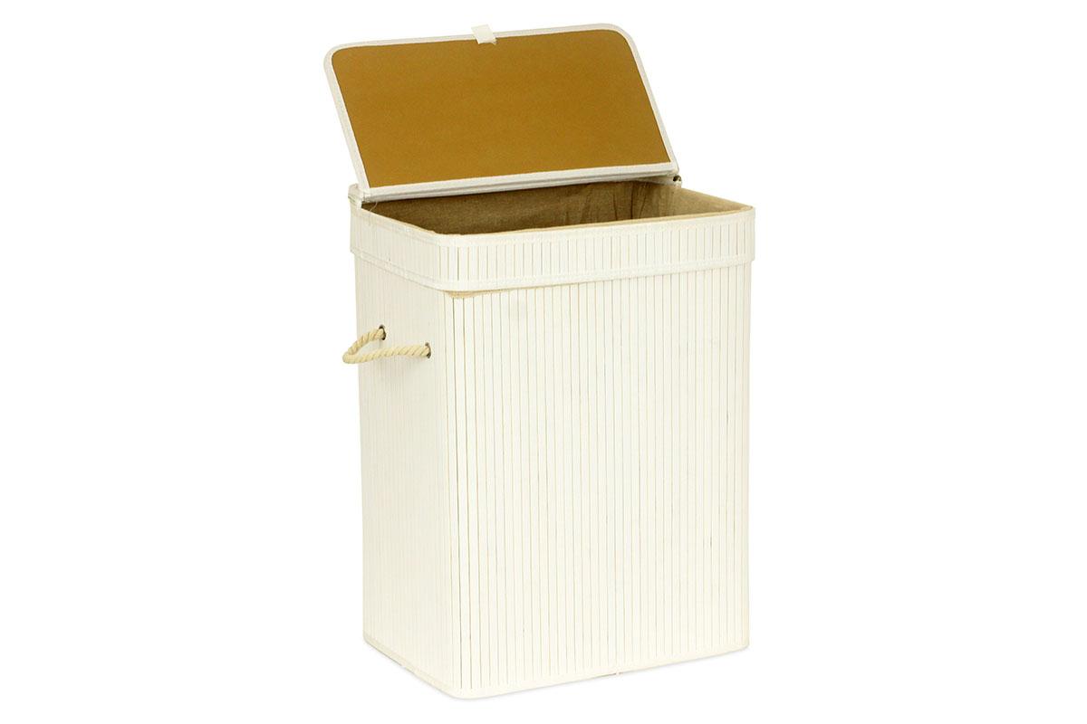 Kôš na prádlo z bambusu, obdĺžnik, farba šedobiela, balené v papierovej krabičke