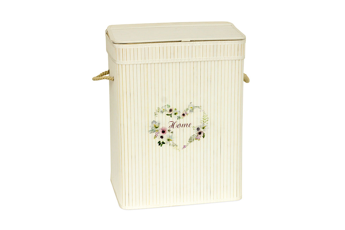 Koš prádelní z bambusu, obdélník, barva bílá s logem, v papírové krabičce