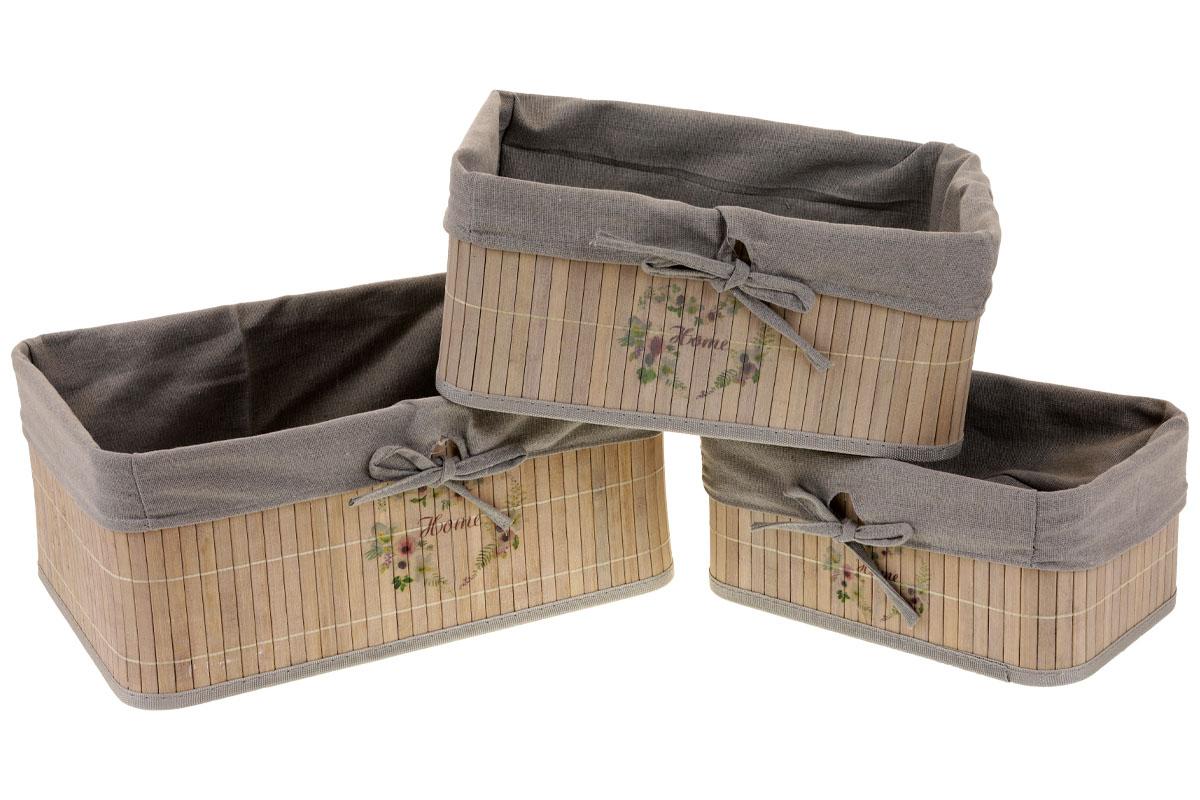 Košík regálový z bambusu, sada 3 kusů, barva šedá