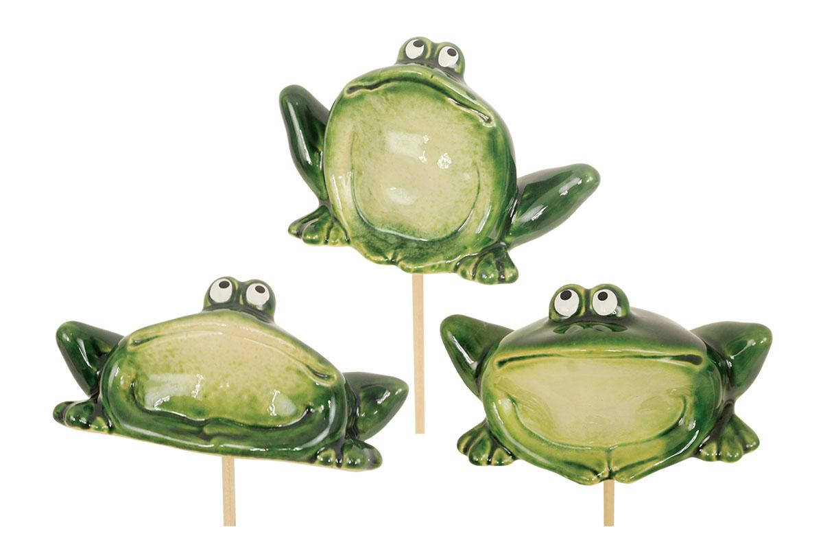 Žabka, zápich, keramická zahradní dekorace, mix  tří druhů, cena za 1 kus