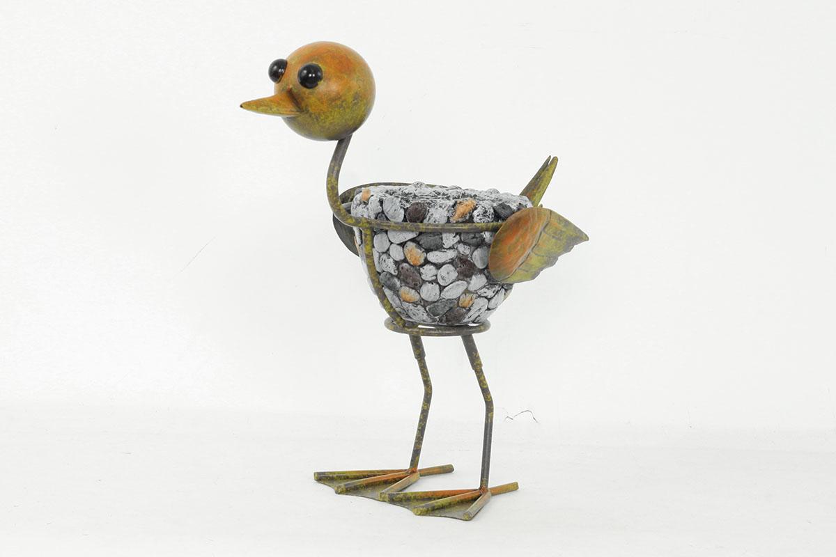 Kachna MgO keramika s kamínky na kovových nohách a s otvorem pro květináč