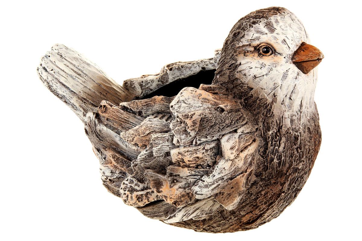Ptáček - obal na květiny, magneziová keramika. Zahradní dekorace.