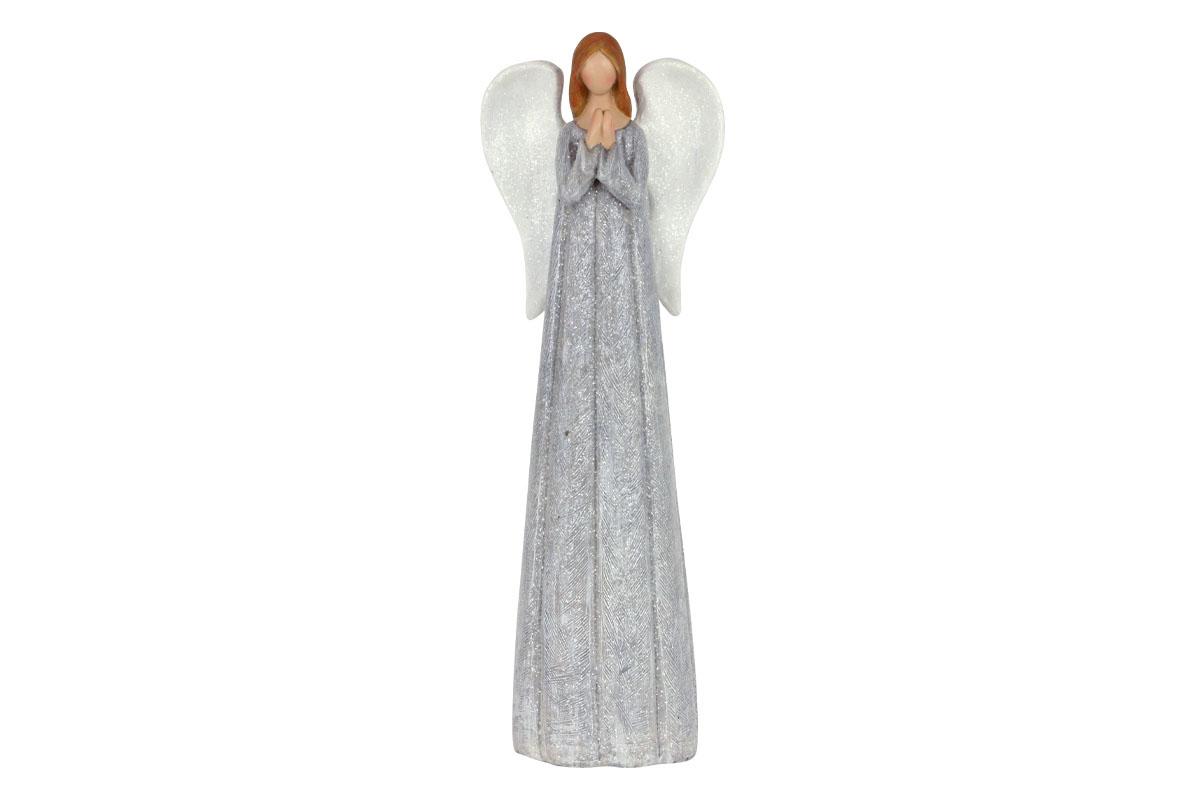 Anděl, polyresin, barva šedá