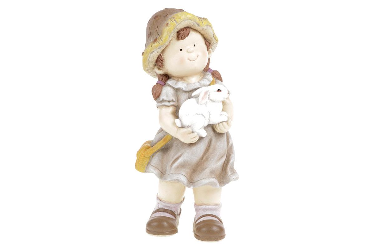 Houbová holčička s ovečkou, zahradní magneziová keramika.