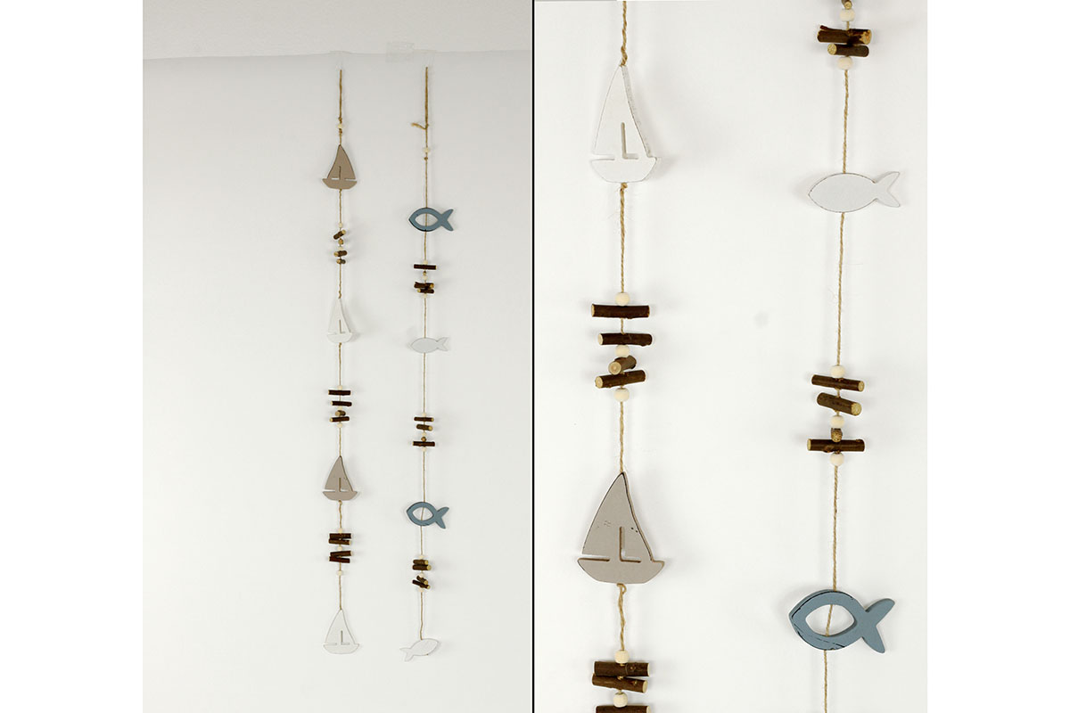 Girlanda s dřevěnými dekoracemi,mix dvou mořských motivů