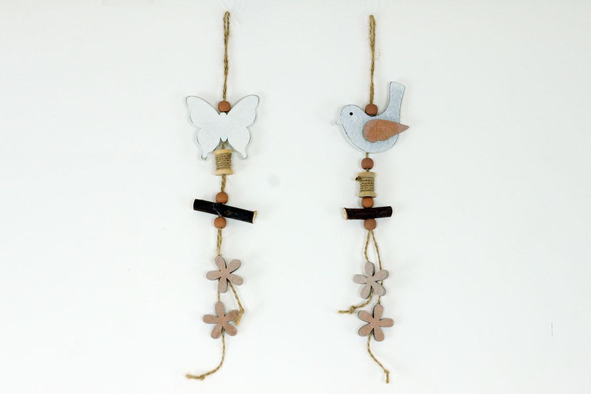 Ptáček a motýl, dřevěná dekorace na zavěšení