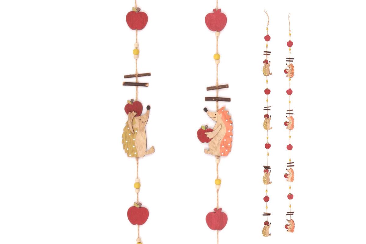 Girlanda s dřevěnou dekorací ježků, mix dvou barev