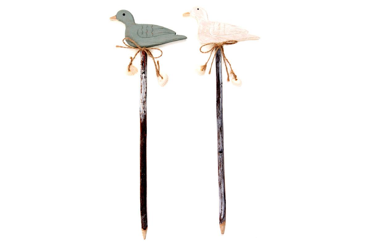 Ptáček,zápich, dřevěná dekorace
