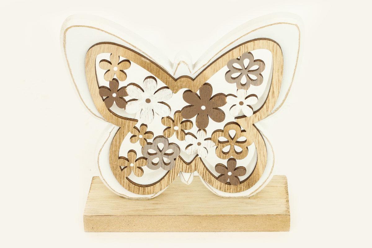 Motýľ, drevená dekorácia na postavenie