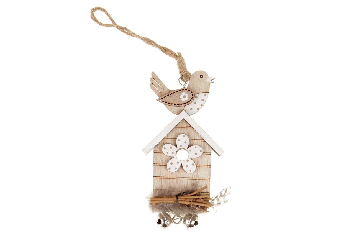 Ptačí budka -dekorace na pověšení. Mdf dřevo. Cena za 4ks/1 balení.