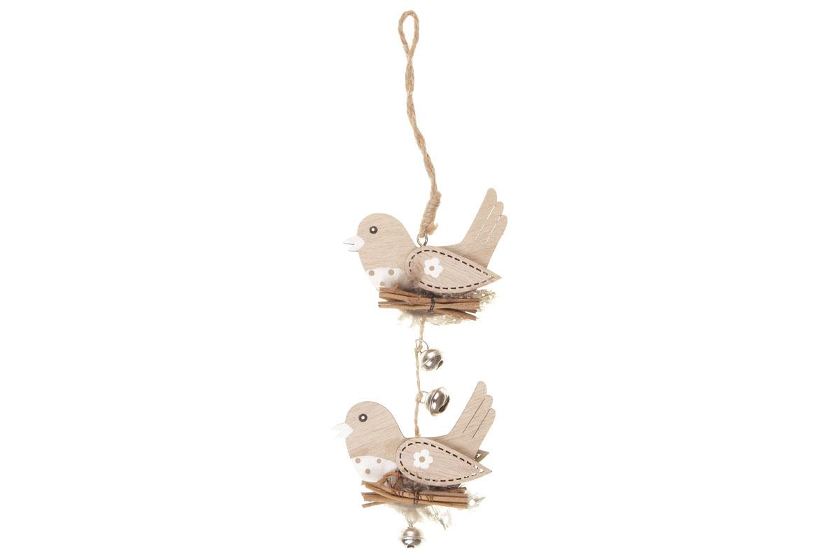 Ptáček s rolničkami - dekorace na pověšení. Mdf dřevo. Cena za 4ks/1 balení.