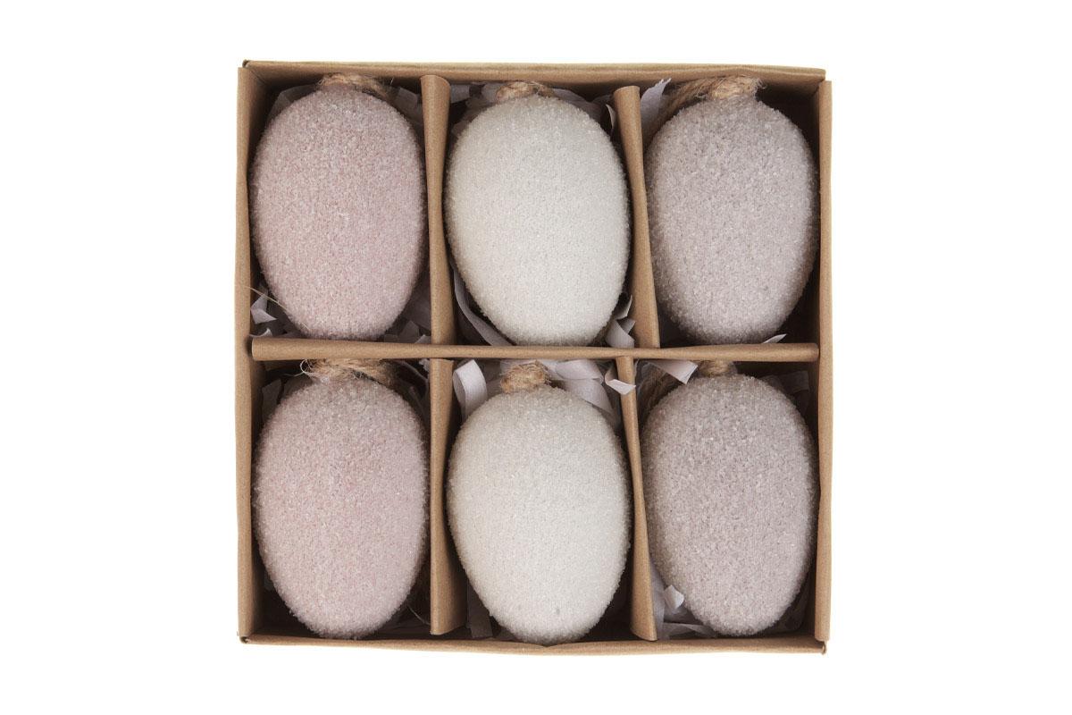 Vajíčka plastové na pověšení, v krabičce. 6ks/krabička.