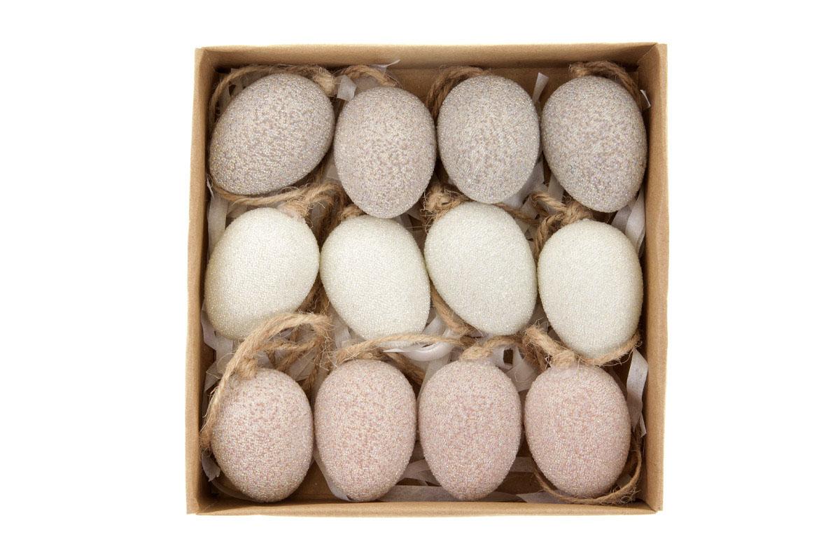 Vajíčka plastové na pověšení, v krabičce. 12ks/krabička