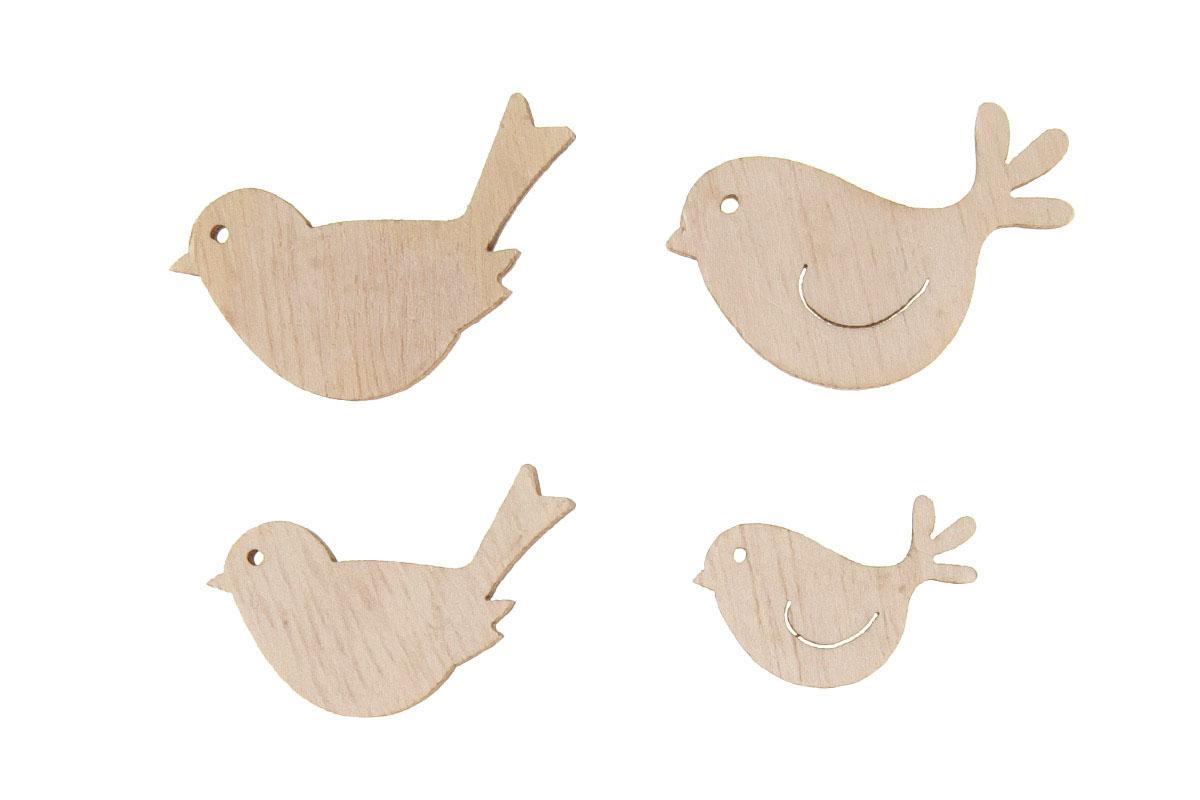 Ptáčci dřevění, 24 kusů v plastové krabičče, cena za 1 krabičku