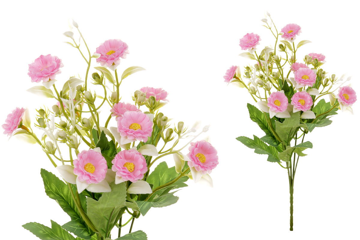 Květina umělá. Sedmikráska, puget, barva růžová