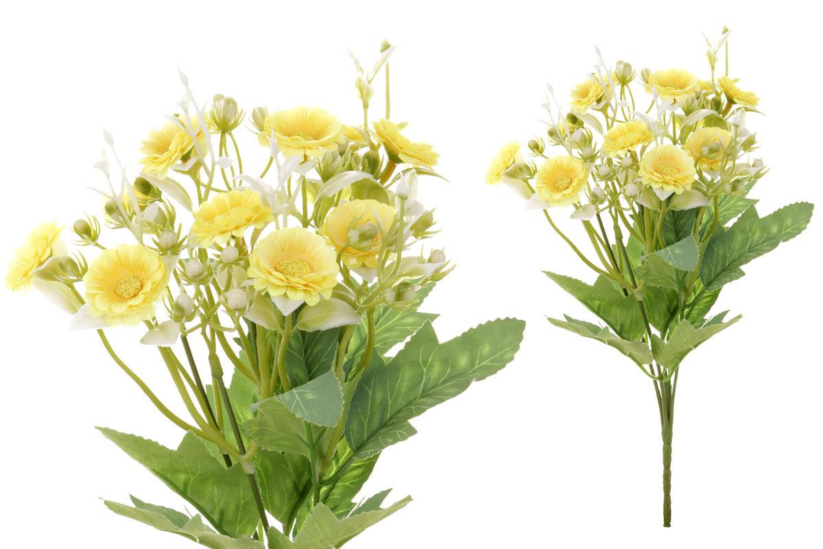 Květina umělá. Sedmikráska, puget, barva žlutá