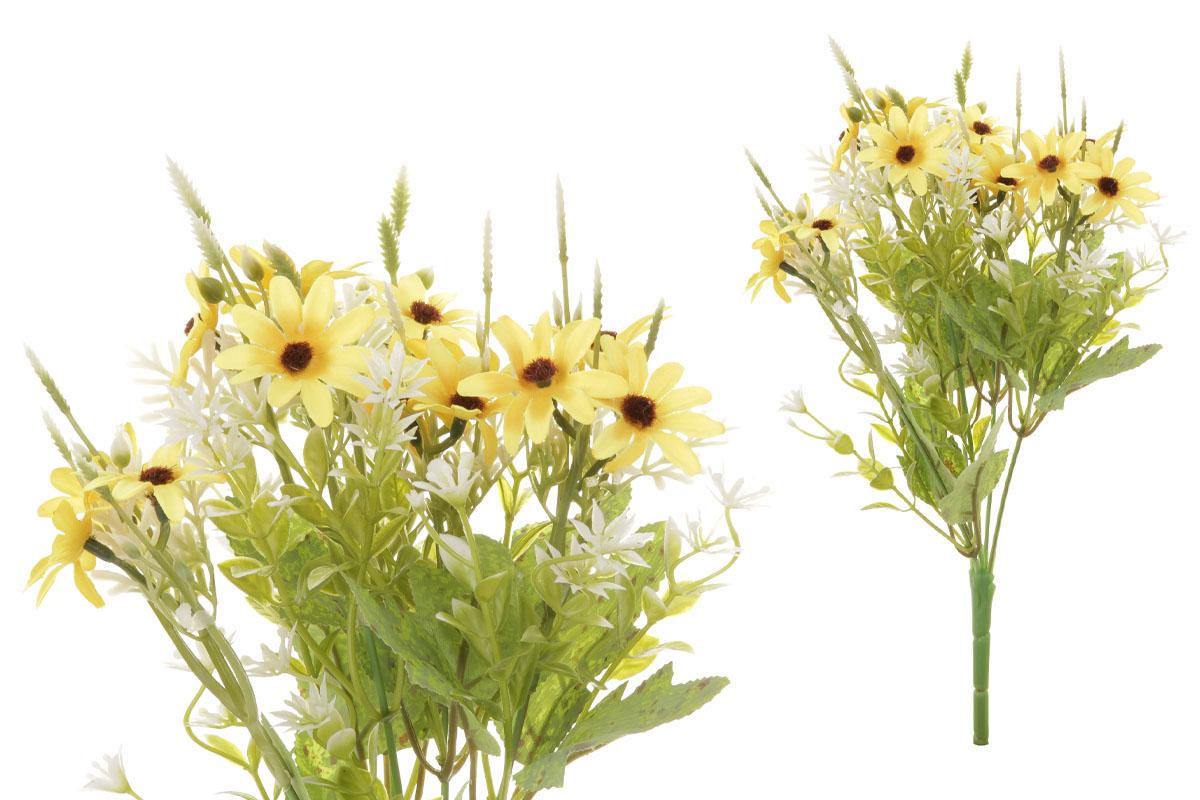 Květina umělá. Kopretina, puget, barva žlutá